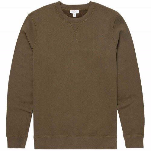 Sunspel Loopback Sweatshirt Military Green
