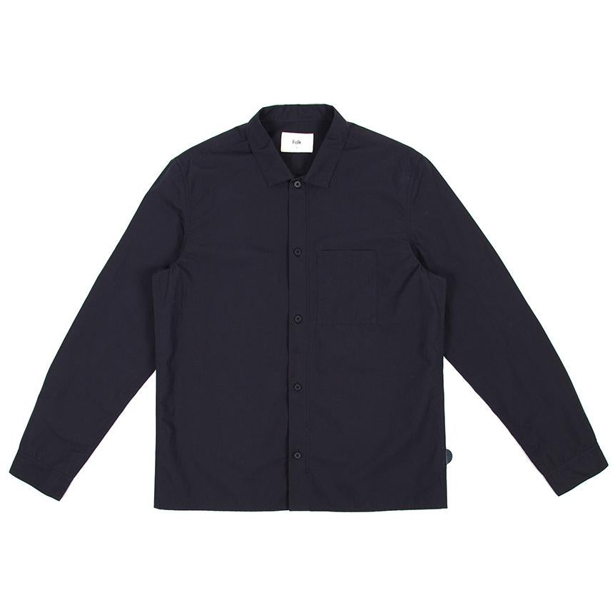 Folk Emboss Shirt Navy