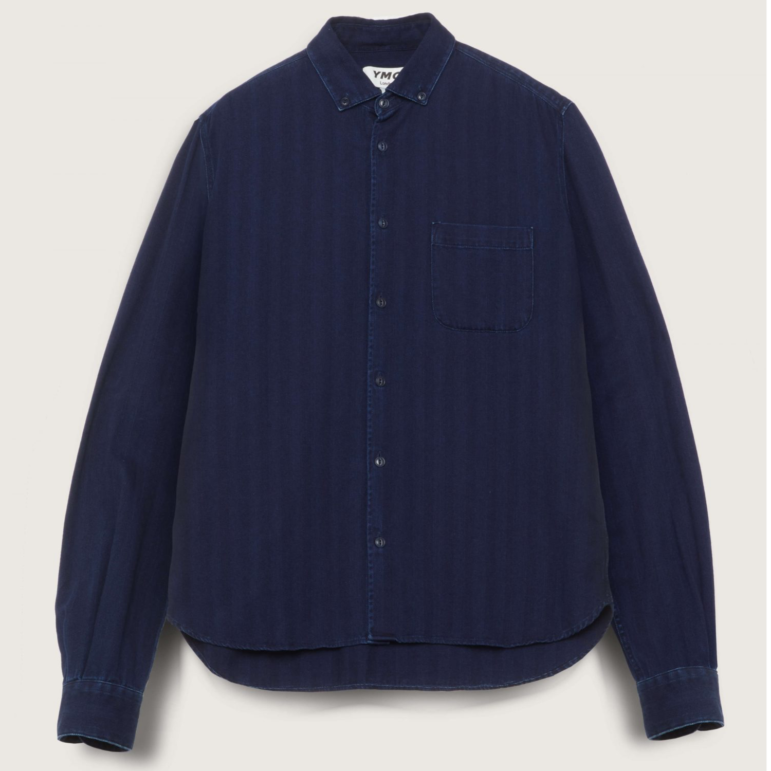 Ymc Dean Cotton Herringbone Shirt - Indigo
