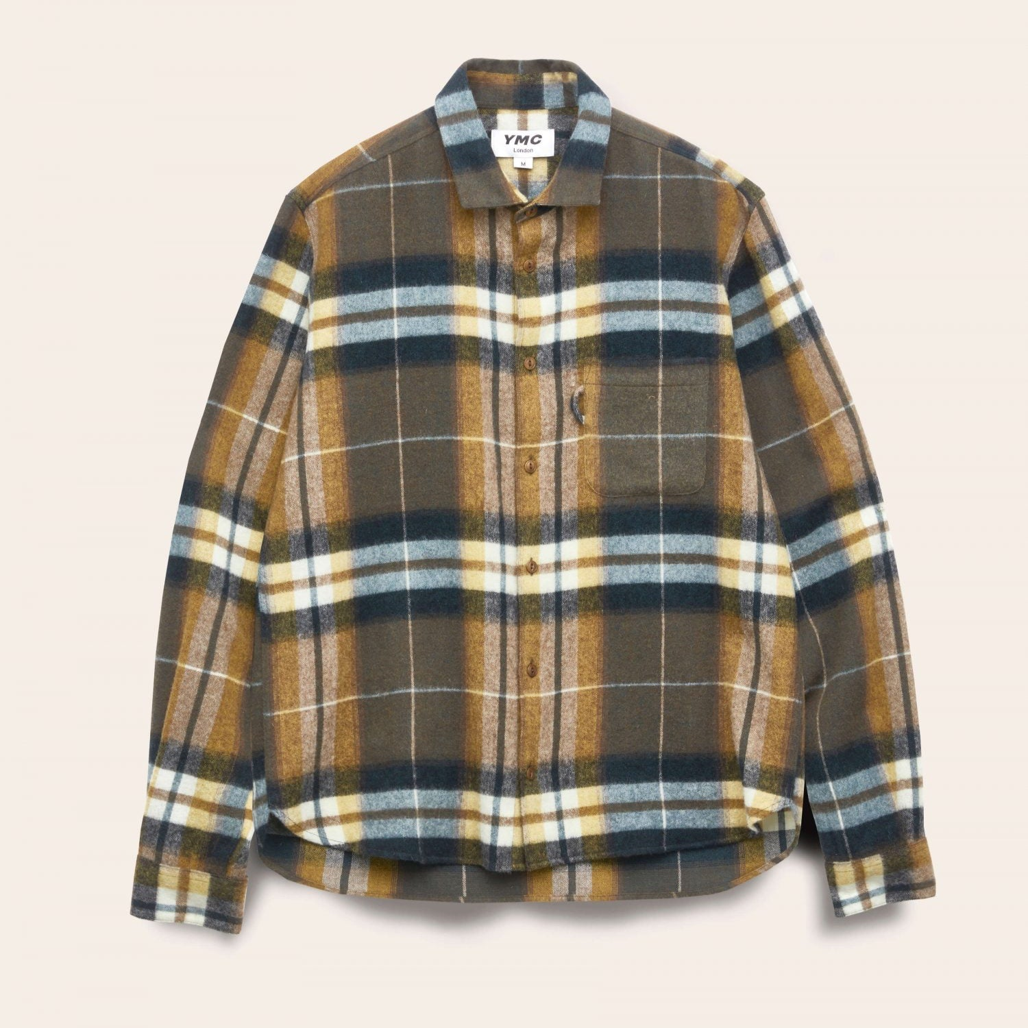 Ymc Curtis Wool Check Shirt - Olive