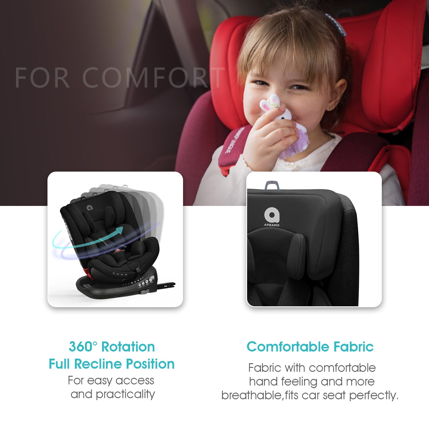 "<b>Unique™</b><br>""The clever 4-in-1 car seat""<br>Suitable from 5 – 36kg<br>birth to approx 12 years"