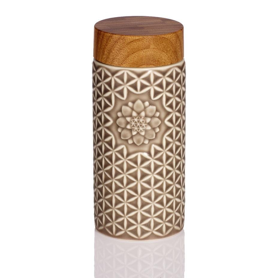 14 oz. Flower of Life Travel Mug ( Mocha Brown)