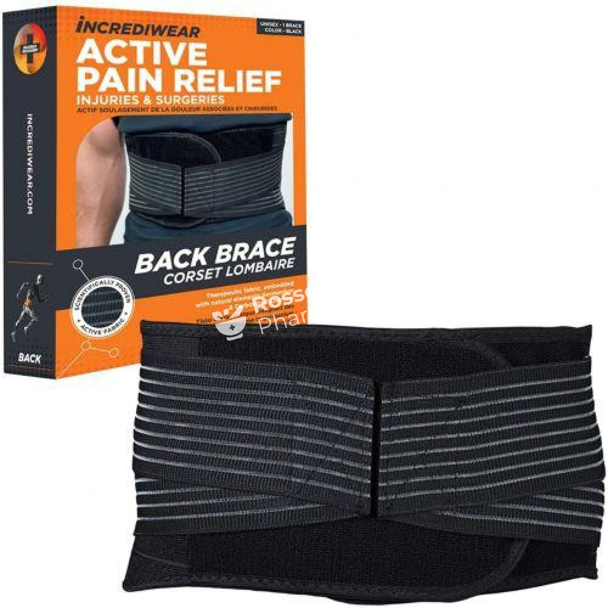 Incrediwear Active Pain Relief Back Brace - Black Supports & Compression Hoisery