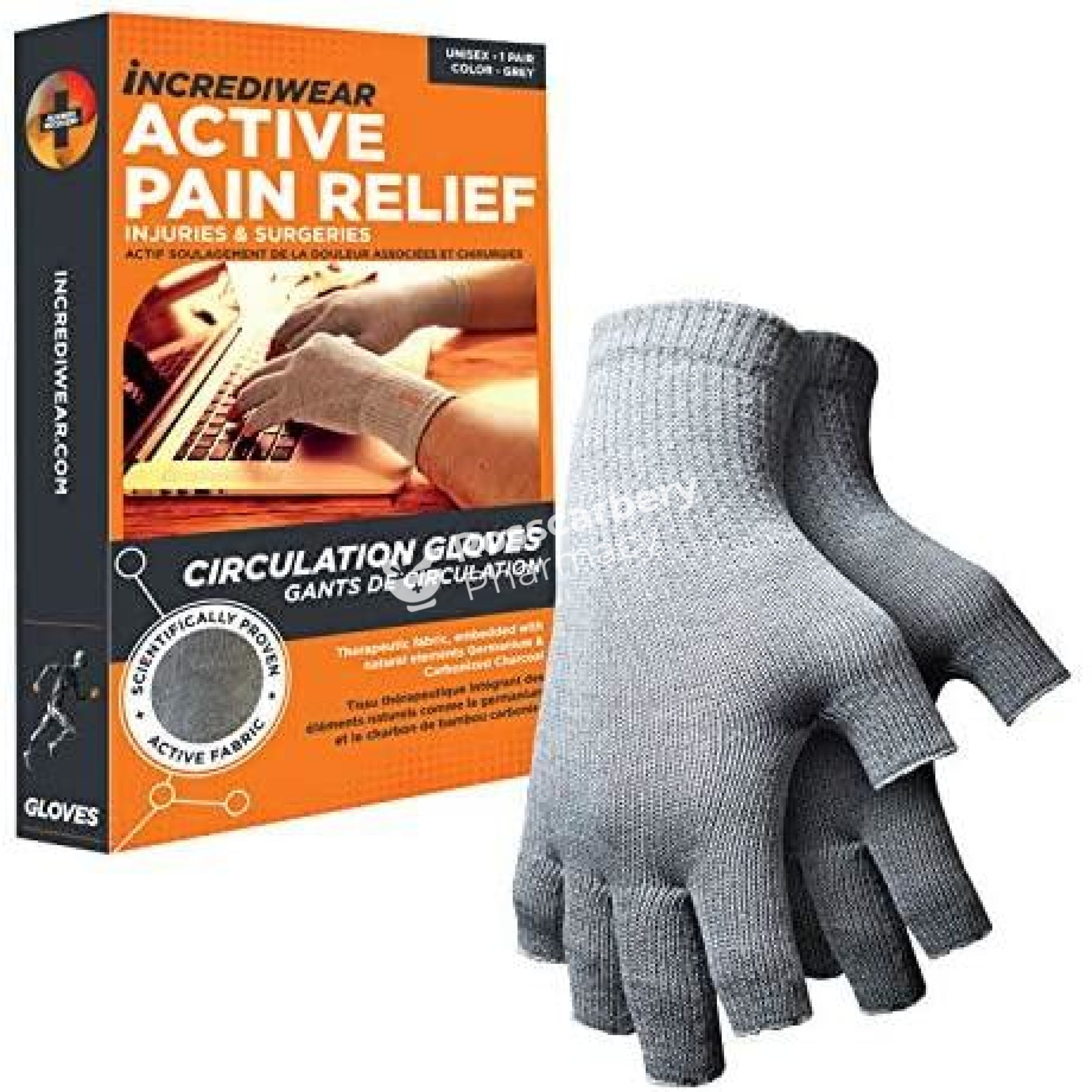 Incrediwear Active Pain Relief Circulation Gloves - Grey Supports & Compression Hoisery