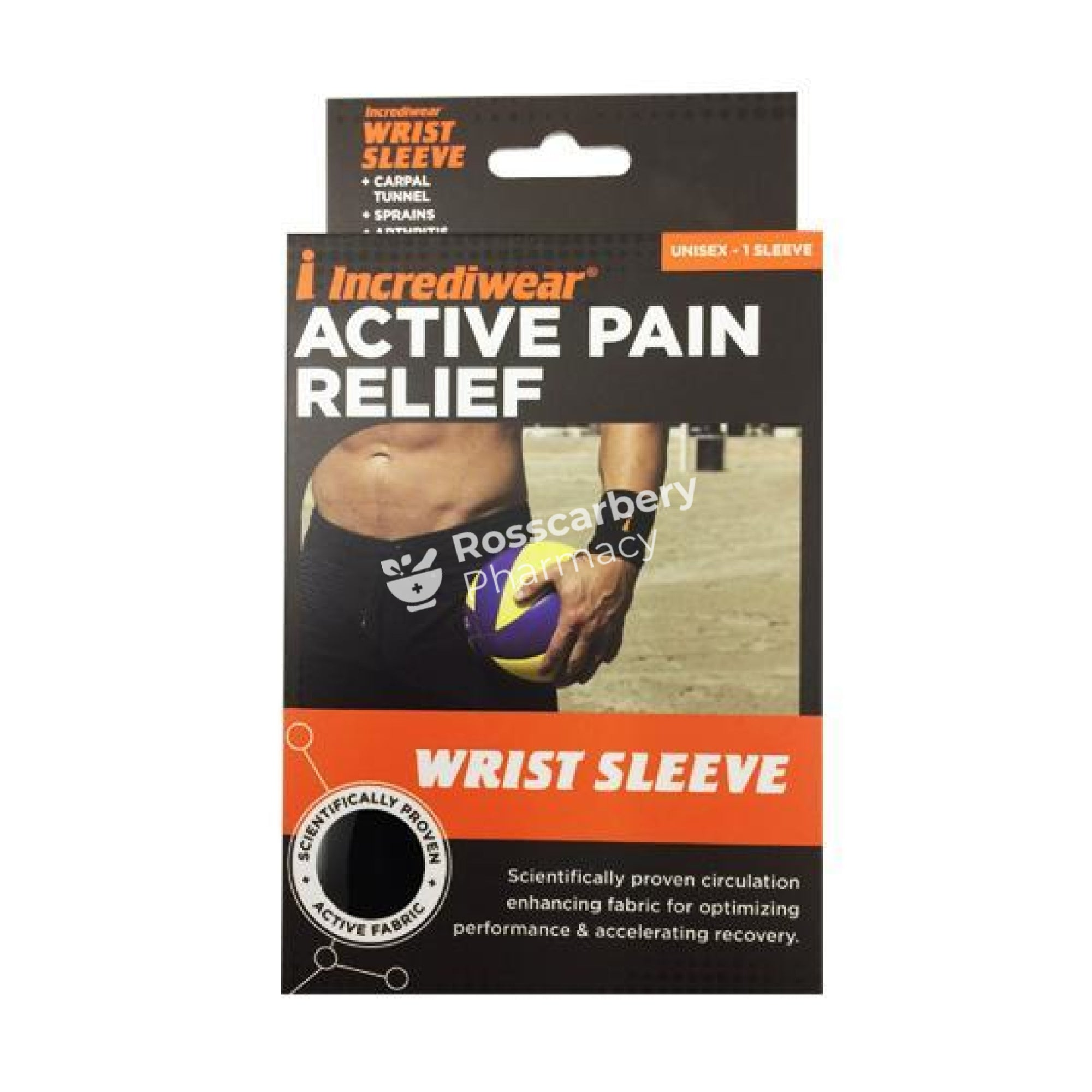 Incrediwear Active Recovery Wrist Sleeve - Black Supports & Compression Hoisery