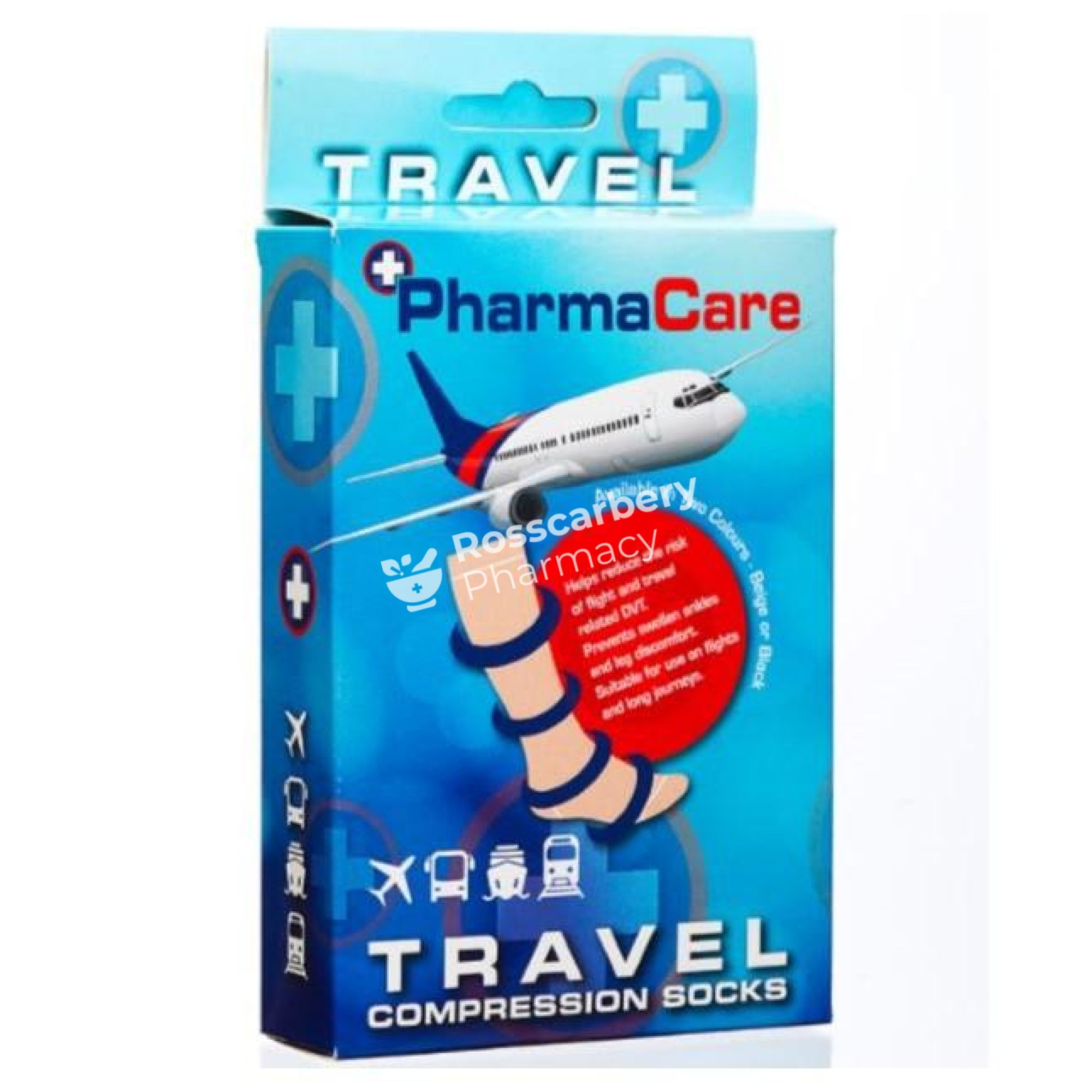 Pharmacare Travel Compression Socks 1 Pair - Beige Bandages Dressings & Plasters