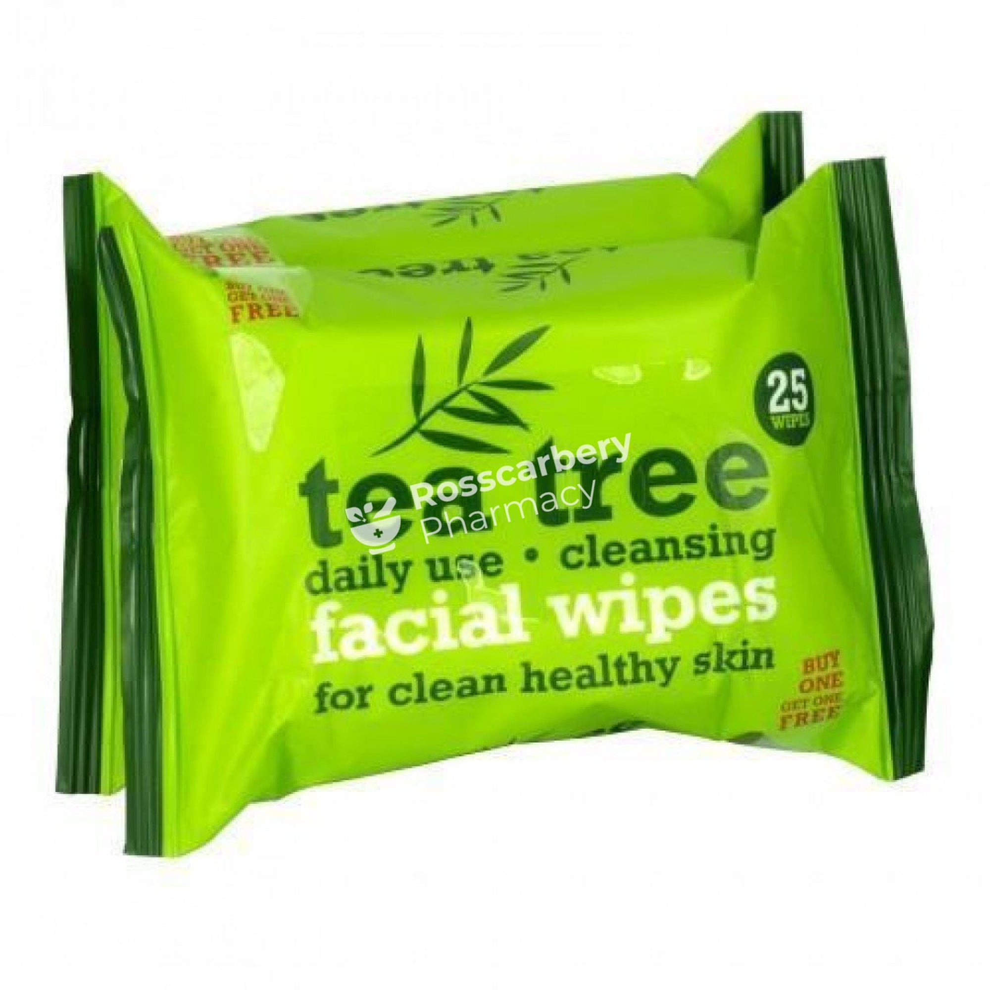 Tea Tree Daily Use Cleansing Facial Wipes Twin Pack Cotton Wool & Tissues