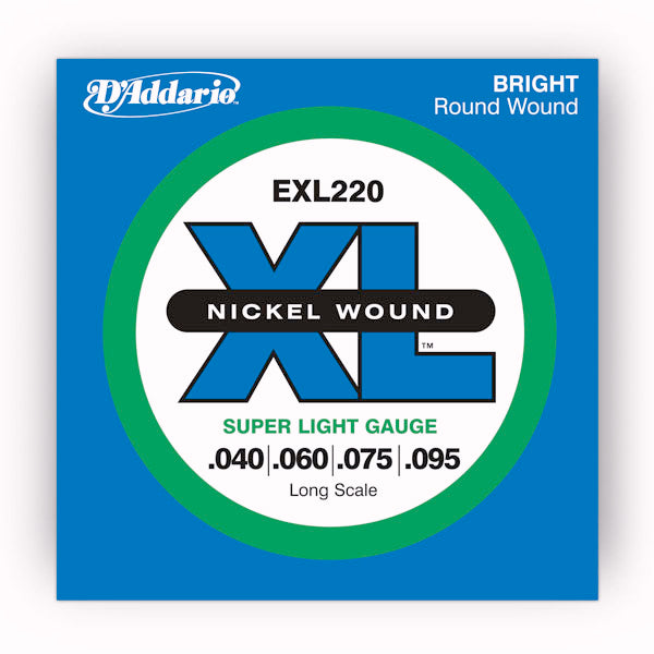 D'Addario EXL220 Nickel Wound Electric Bass Guitar strings 40-95