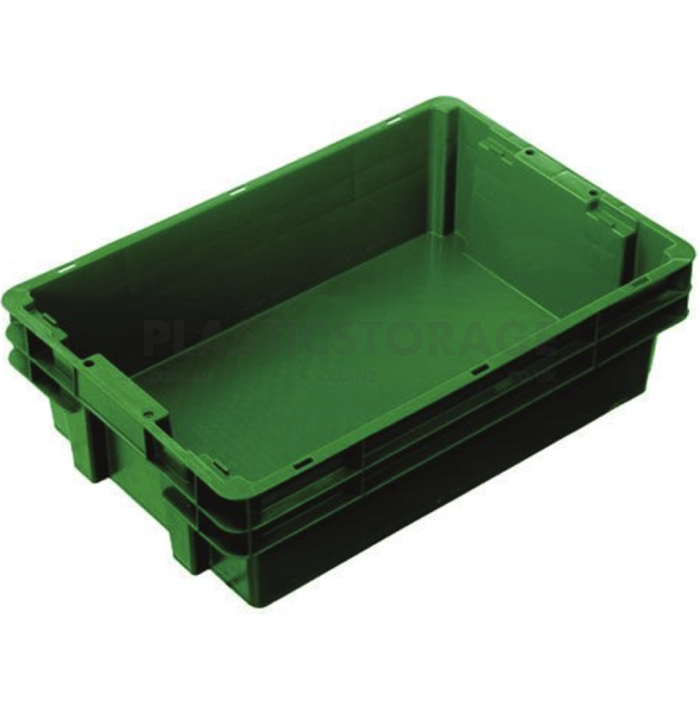 26L Stackable And Nesting Solid Crate Base Green