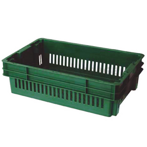 26L Stackable And Nesting Vented Crate Base Green