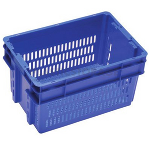 52L Stackable And Nesting Vented Crate Base Blue