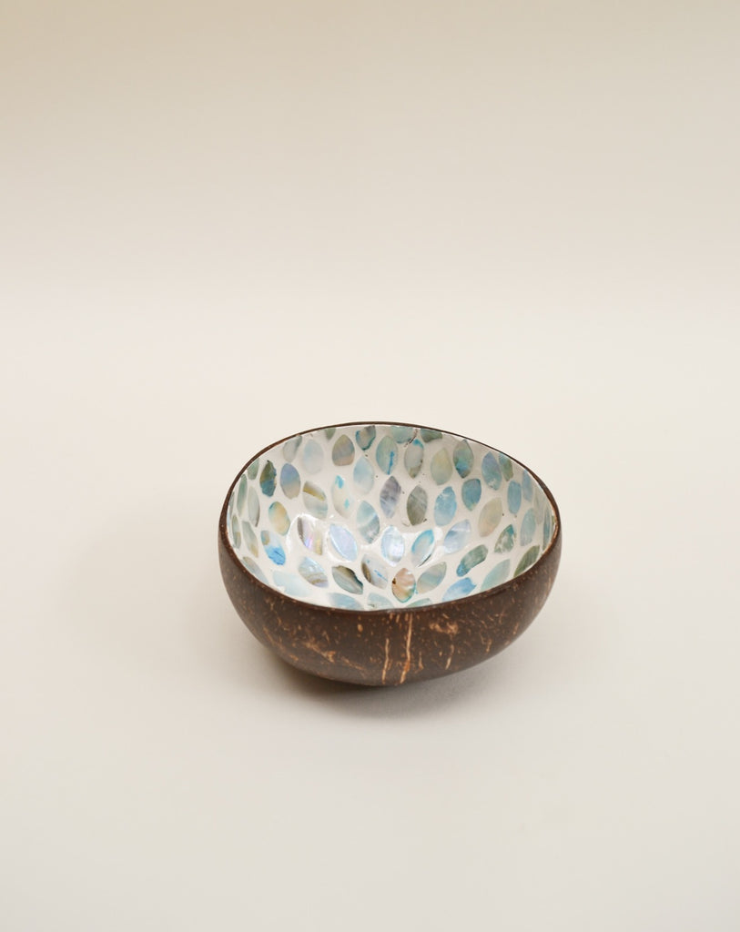 Blue flower coconut bowl