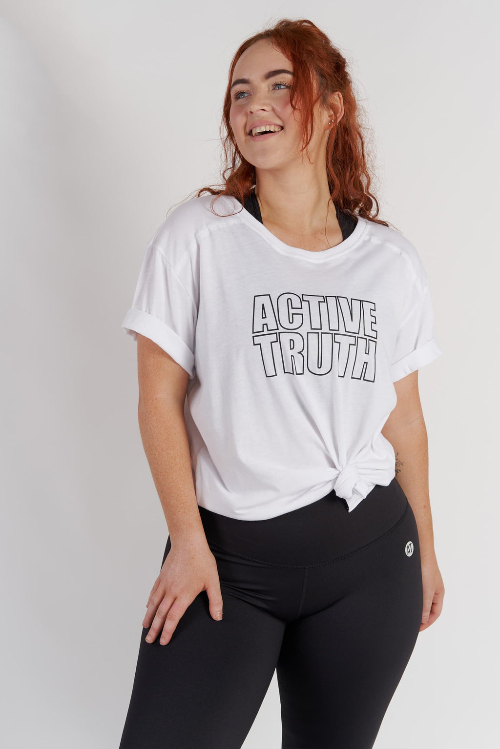 Crew Neck Logo T-Shirt - White from Active Truth USA