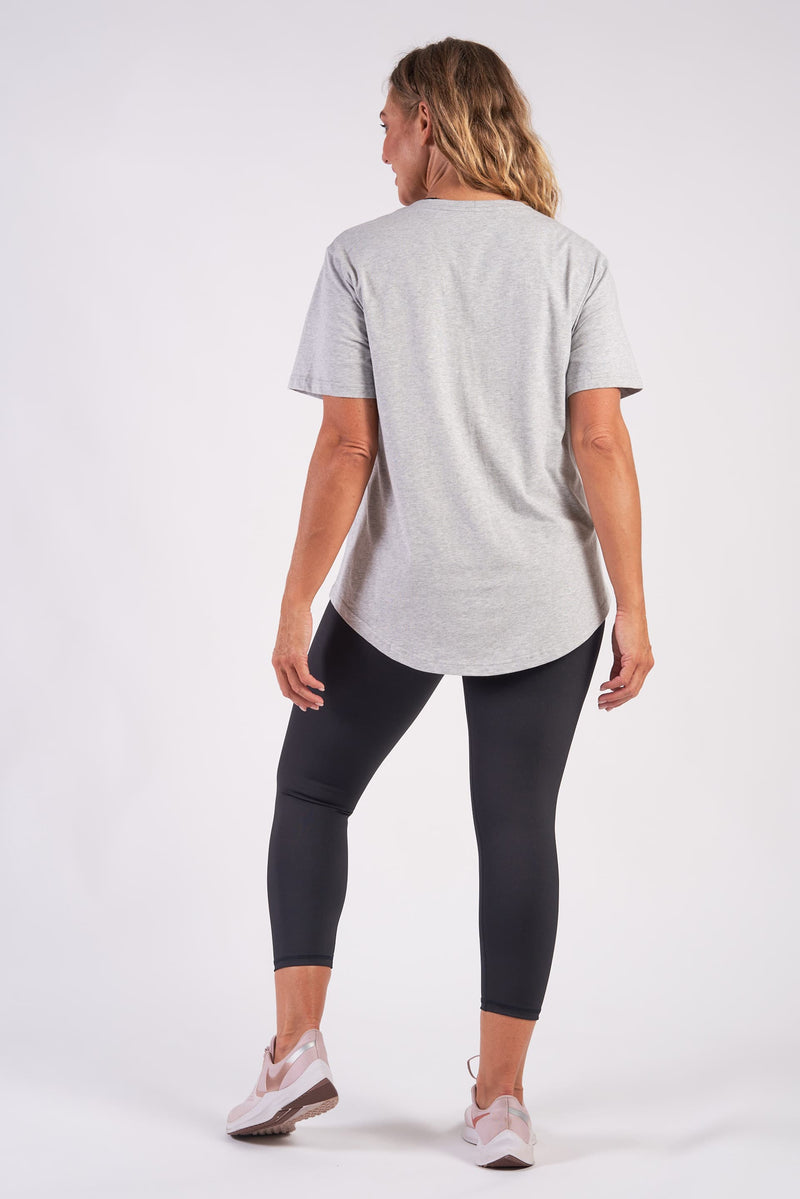Basic Crew Neck Organic Cotton TShirt - Grey Marle from Active Truth USA