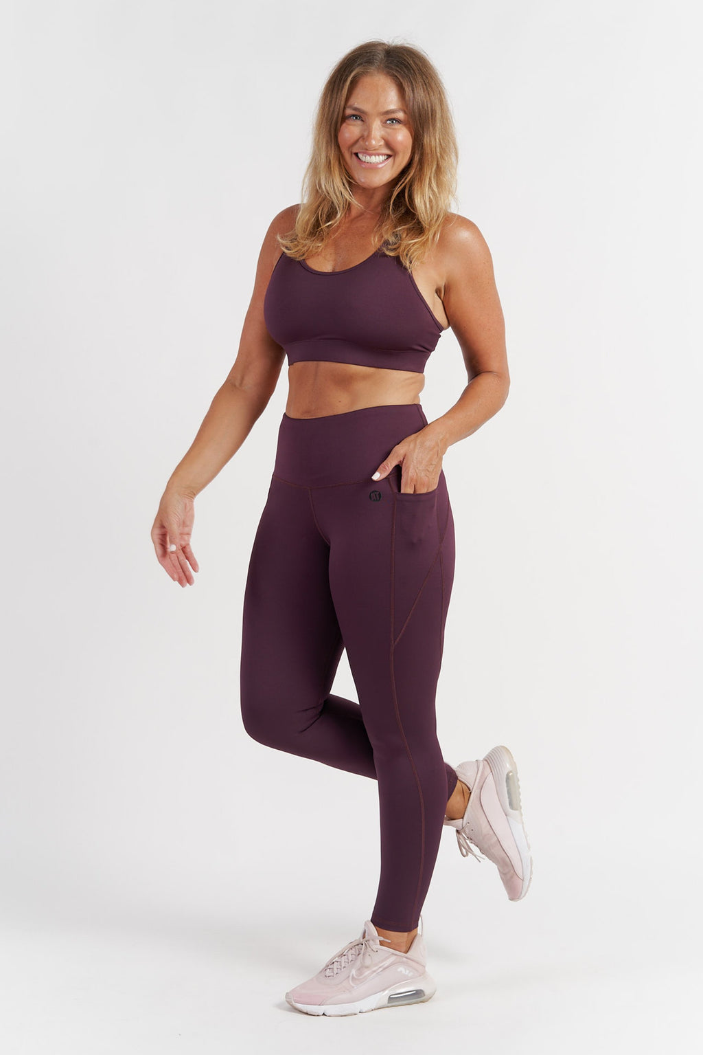 Training Pocket Full Length Tight - Wine from Active Truth USA
