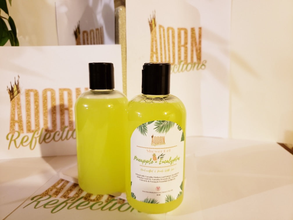 Pineapple and Eucalyptus Shower Gel For softer skin. This body wash smells AMAZING!!!!! It has a rich lather and antioxidants that help to soften and soothe the skin!      Key Ingredients:  Infused with Camellia Leaf Extract, Eucalyptus Globulus Leaf Oil, Camellia Sinensis Oil, Cosmetic  Colorants & Pineapple Essential Oil Blends.