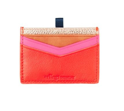 Arlington Milne - Alexis Card Holder - Rose Gold to Tangerine