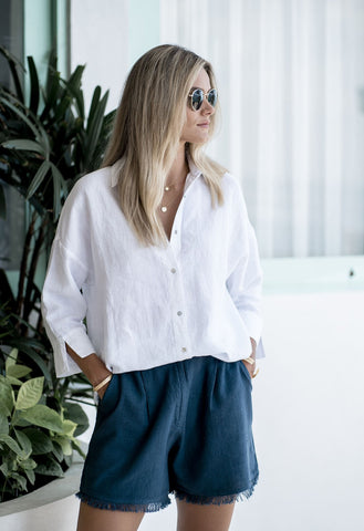 HUMIDITY - EMPIRE LINEN SHIRT - WHITE
