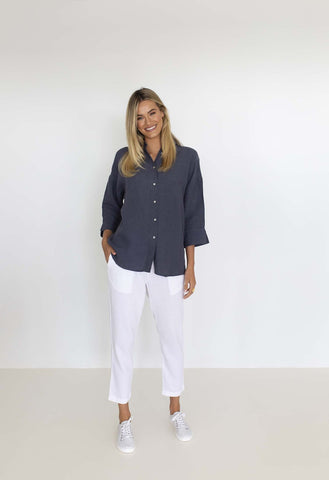HUMIDITY - EMPIRE LINEN SHIRT - STEEL BLUE