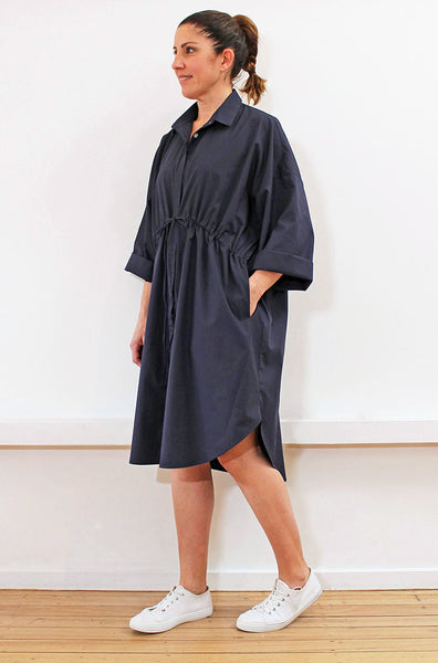 SHORTLIST - OVERSIZED DRAWSTRING SHIRTDRESS - NAVY