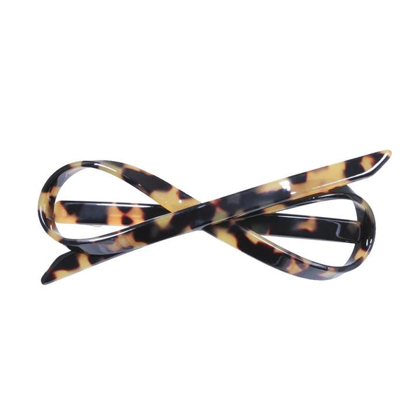Paris Mode - Hair Clip Bow Jean - Dark Tortoise Shell
