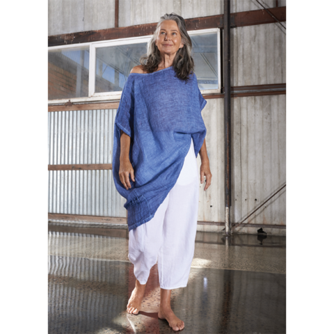 Kiitos - Linen Gauze Top - Long - Denim