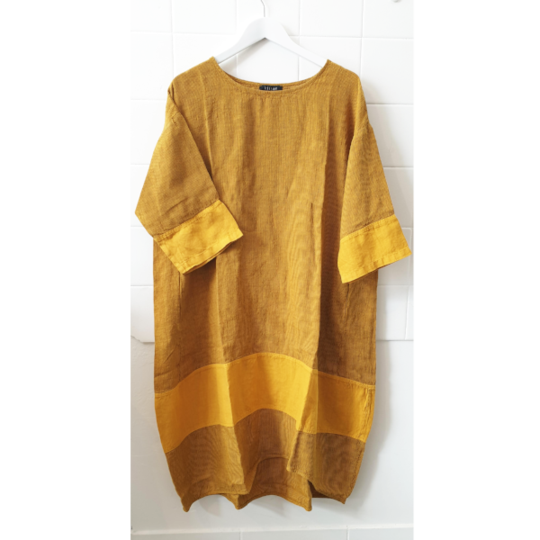 Kiitos - Tulip Dress - Mustard Stripe