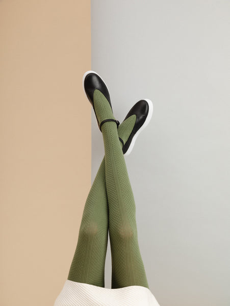 TIGHTOLOGY - MEADOWS KHAKI COTTON TIGHTS