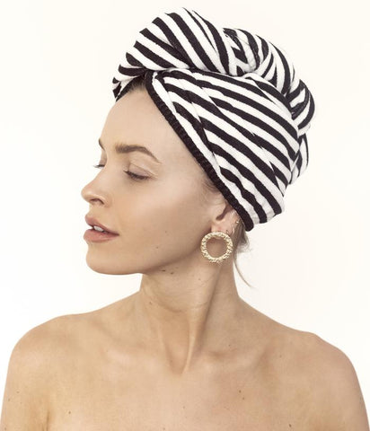 LOUVELLE - RIVA Hair Towel Wrap - Monochrome Stripe