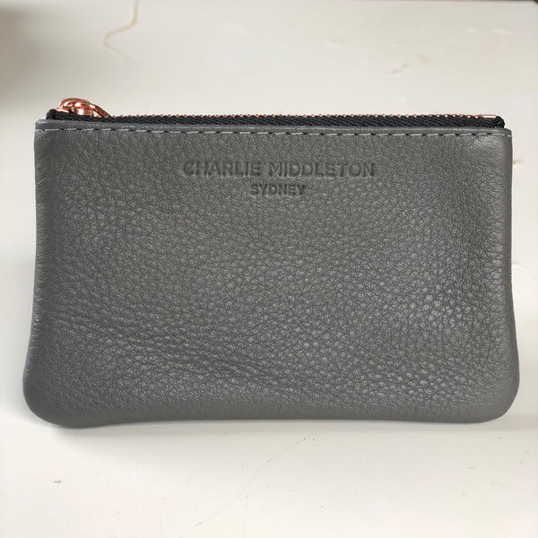 CHARLIE MIDDLETON -GREY COIN PURSE - ROSE GOLD HW