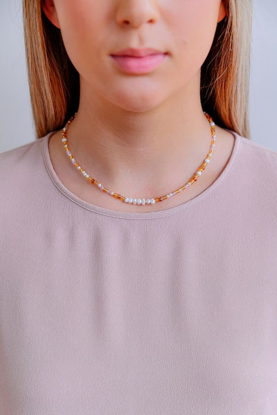 ZAFINO -  PEARL & STONE NECKLACE - AMBER
