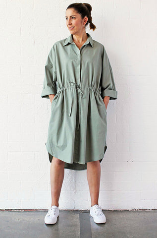 SHORTLIST - OVERSIZED DRAWSTRING SHIRTDRESS - SAGE