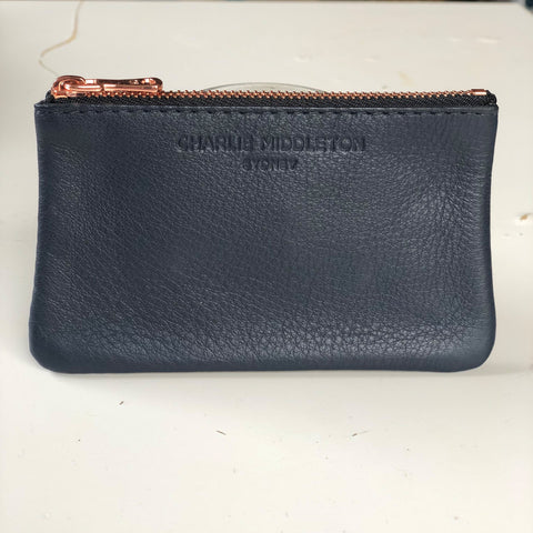 CHARLIE MIDDLETON - NAVY NAPPA COIN PURSE - ROSE GOLD HW