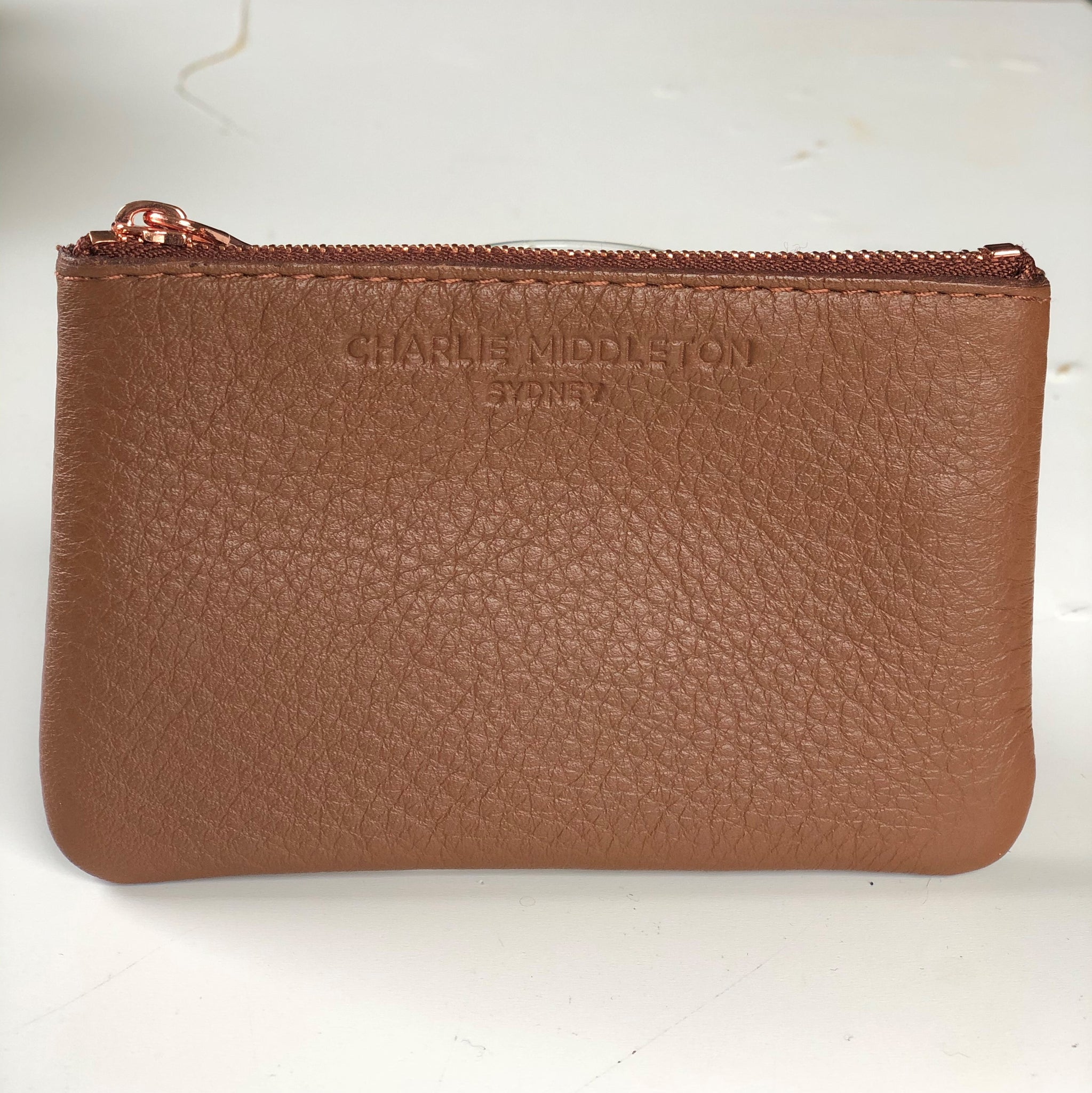 CHARLIE MIDDLETON - TAN NAPPA COIN PURSE - ROSE GOLD HW