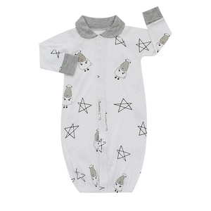 Convertible Gown & Romper Big Sheepz Star White