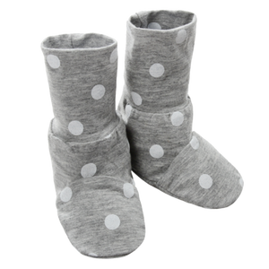 Booties Grey Polka Dot