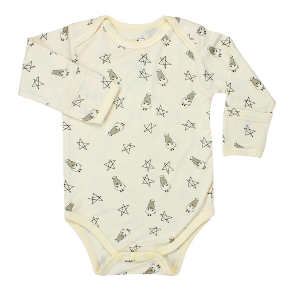 Long Sleeve Onesie Yellow Small Star & Sheepz