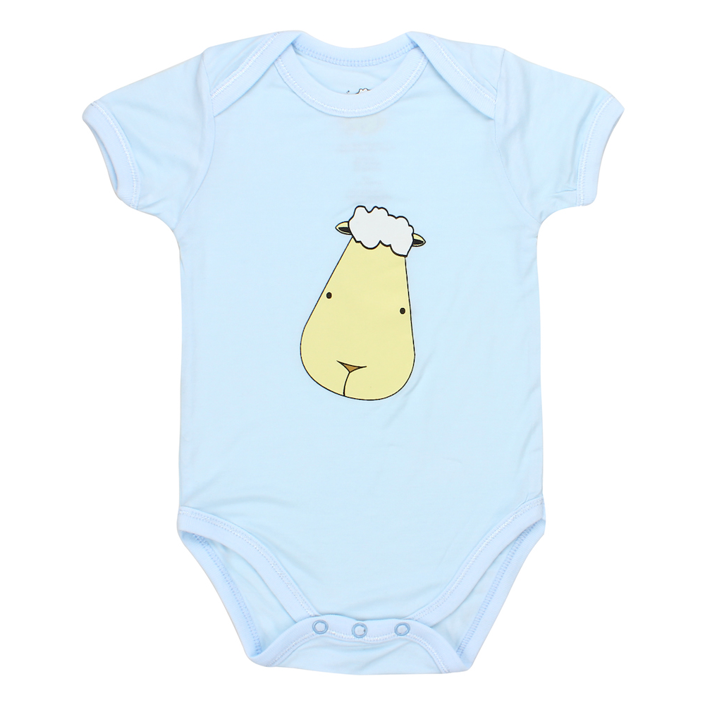 Short Sleeve Onesie Blue Big Face