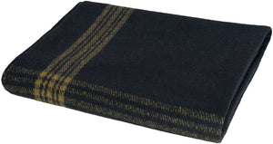 Blanket Classic Wool Washable Navy + Gold Stripes