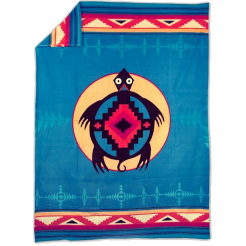 Image of Turtle™ Fleece Blanket Authentic Native American Pattern Design - ARKGROUND COUTURIER