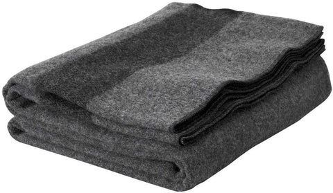 Wool Blanket Classic Washable Gray + Dark Stripes™ - ARKGROUND COUTURIER