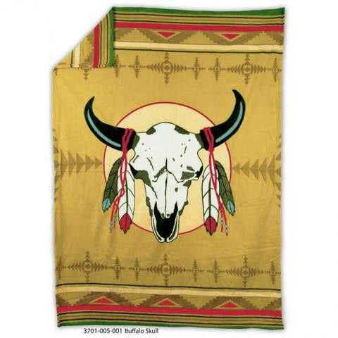 Image of Buffalo Skull - Fleece Blanket Authentic Native American - ARKGROUND COUTURIER