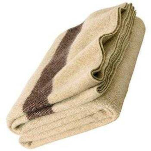Blanket Classic Wool Washable Tan + Dark Stripes