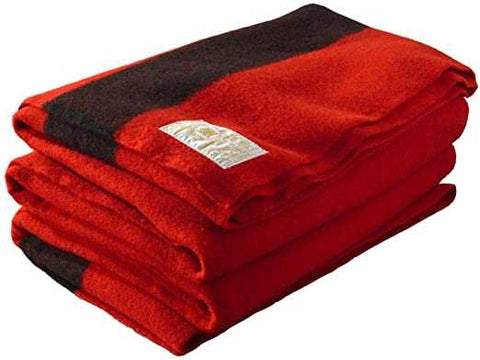 "Blanket Classic Wool Washable Red + Dark Stripes,  60""x80"""