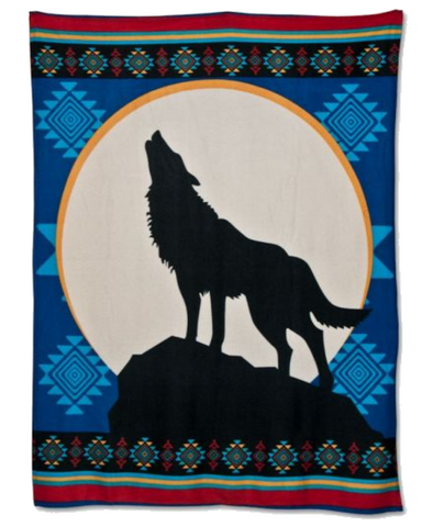 Call of the Wild - Fleece Blanket Authentic Native American Pattern Design™ - ARKGROUND COUTURIER
