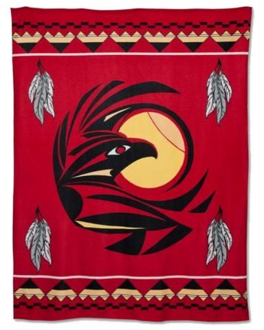 Image of Raven™ - Fleece Blanket Authentic Native American Pattern - ARKGROUND COUTURIER