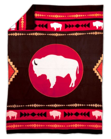 Image of White Buffalo™ Fleece Blanket Authentic Native American - ARKGROUND COUTURIER