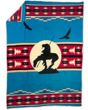 End of the Trail - Fleece Blanket Blanket Authentic Native American Pattern Design™ - ARKGROUND COUTURIER