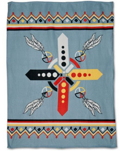 Four Directions  - Fleece Blanket Authentic Native American Pattern Design™ - ARKGROUND COUTURIER
