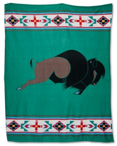 King of the Plains - Blanket Authentic Native American Pattern Design by Arkground